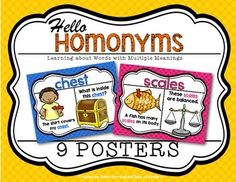 Homonym Posters Kindergarten and First Grade. Set includes 9. $