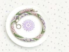 "Bead Crochet Necklace ""Violet Dandelions"""