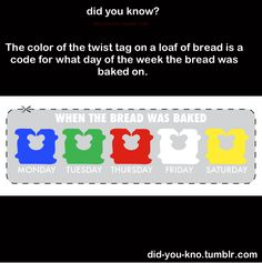 Bread Tag color chart... this is useful.