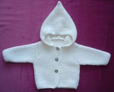seed stitch cardigan with hood 6 months Baby Cardigan Knitting Pattern Free, Knitting Patterns Free, Baby Knitting, Crochet Baby, Drops Baby, Pull Bebe, Seed Stitch, Baby Vest, Funny Socks