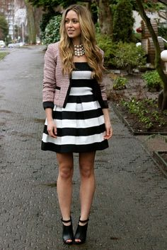 Stripes paired with a cute blazer. Outfit inspiration via A Fashion Love Affair.