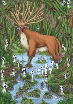"In the Forest of the Shishikami by Ganjamira on deviantART ~ tribute to Ghibli´s masterpiece ""Princess Mononoke""."