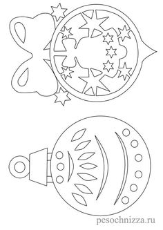 DIY: Two Christmas ornaments template/stencil. Christmas Ornament Template, Christmas Templates, Xmas Ornaments, Christmas Printables, Christmas Balls, Christmas Colors, Christmas Crafts, Christmas Decorations, Kids Christmas