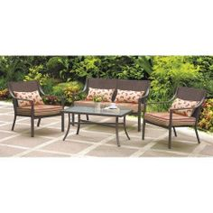 4 Pc Cushioned Patio Backyard Deck Set Outdoor Furniture Table Chairs  Loveseat