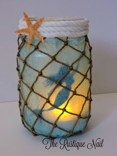 Youve caught your own mermaid in a jar!  These lanterns make the perfect nightlight for a little girls room, or to add as the centerpiece for any mermaid/nautical themed event. This listing includes: -1 mermaid lantern wrapped in a blue finish, fishermans netting and finished off with nautical rope around the neck of the jar, and 1 star fish. Please note that the starfish will come detached from the jar to prevent the fragile starfish from breaking during shipment. - Starfish are picked at…