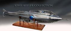From the Josef Keller Collection: A replica of Harper Goff's prototype Nautilus submarine model built for Walt Disney. Josef Keller built this model in based on the original Goff concept model from the Nautilus Submarine, Leagues Under The Sea, Submarines, Retro Futurism, Oceans, Diorama, Sword, Walt Disney, Basement