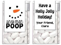 Christmas Holiday Snowman Poop Tic Tac Party Candy Wrappers  Labels Favors Custom Personalized on Etsy, $3.82 CAD