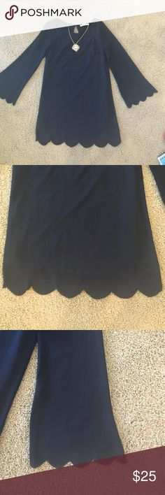 Navy Scalloped Bell Sleeve Shift Dress Nice and light! Perfect for fall with tights or summer without! The scalloped sleeves and hem are the cutest! Dresses