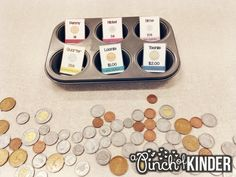 A Pinch of Kinder: Teaching Money in FDK: Sorting Coins Money Activities, Money Games, Learning Activities, Numbers Kindergarten, Kindergarten Games, Math Games, Teaching Money, Math Talk, Fun Math
