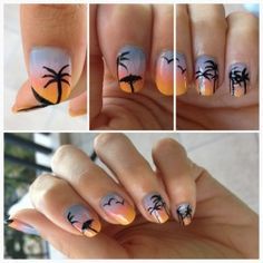A fabulous beach #nail #art design by the fabulous @Chi Chi