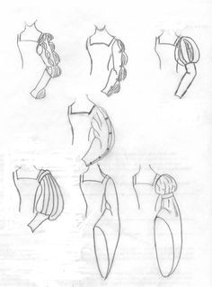 Court dress sleeves, I like the first ones to the left on the top and bottom rows, but I would start the sleeves off-shoulder, instead of at a 90 degree angle... :D