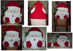 Cubre Silla de Santa Christmas Chair, Christmas Table Decorations, Christmas Sewing, Felt Christmas, Christmas Snowman, Christmas Stockings, Christmas Holidays, Christmas Ornaments, Holiday Decor