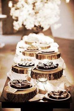 Dessert buffet for rustic wedding reception. Wedding Reception Food, Wedding Desserts, Wedding Table, Wedding Centerpieces, Wedding Cakes, Reception Ideas, Wedding Rehearsal, Wedding Venues, Pizza At Wedding
