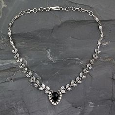 Onyx and quartz Y necklace, 'Midnight Dewdrops' - Onyx and Quartz Y Necklace in Sterling Silver