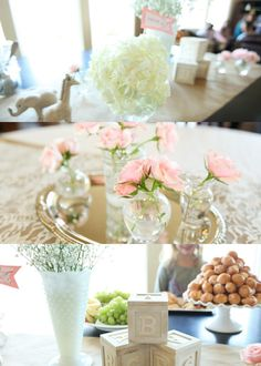 I like the silver tray under vases instead of the typical wedding reception mirrors.