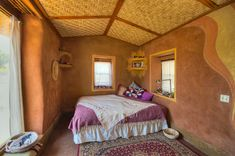 Juanita's House Interior - built from cob / strawbale / adobe / clay plaster by The Canelo Project | www.caneloproject.com