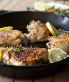 Lemon Thyme Chicken Thighs Recipe. Looking for recipes for quick, easy, inexpensive or even cheap weeknight dinner ideas and meals? Try this DELICIOUS recipe! Crispy skin and so tender. Whole30 / Whole 30 approved!