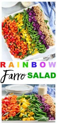 Rainbow Farro Salad recipe So easy and SO good! #salad #recipes #healthy #vegan #oilfree #vegetables #easter #spring #summer via @Maryea Flaherty