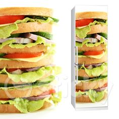 Fabric Fridgy Sticker SANDWICH by Sticky!!! Fridge Stickers, Wall Stickers, Wall Murals, Sandwiches, Canvas Prints, Homemade, Fabric, Food, Home Decor
