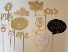 Pink and Gold First Birthday Photo Booth Props-12 Pieces
