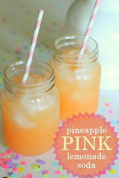 Pineapple Pink Lemonade Soda - Just 3 ingredients for a cool and refreshing summer beverage! - 1 Liter Sprite - 1 cup Pink Lemonade Mix - 1 can Dole Pineapple Juice - Mix them together and enjoy!
