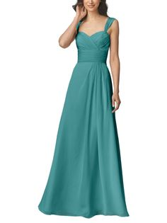 Description - Wtoo by Watters Style 906 - Full length bridesmaid dress - Sweetheart neckline with straps - Gathered a-line skirt - Crystal chiffon