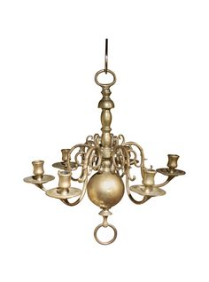 Early 19th Century Dutch Brass Six Light Pegged Chandelier