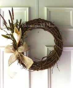 14 inch Grapevine Wreath, Neutral, Cream Flowers with Burlap Bow, Spring, Summer, Fall Wreath, Bridal Shower, Wedding Decor on Etsy, $32.00