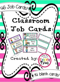 Classroom Job Cards by Kinder Tykes from KinderTykes on TeachersNotebook.com -  - Adorable Job Cards for every classroom!