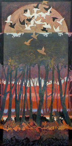 "Judith Bergerson, ""Taking Flight 2,"" acrylic on canvas, 18 x 36 in. (c) Judith Bergerson 2015"