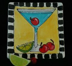 painted pottery ideas | HAND PAINTED MARTINI CAKE PLATE FOR A GIRLS NIGHT OUT 6.5 inch square ...