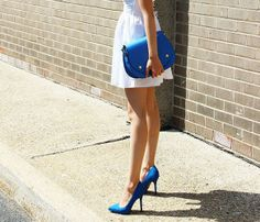 The White Dress; The Classic Cross-Body Bag; and Some Bright Pointy-toed Pumps = Amazing!
