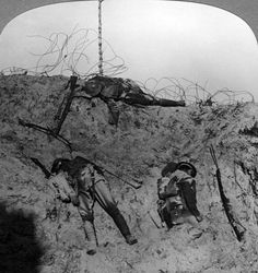 WWI, 1915-17; Men who fell contesting the mine crater, Zouave Woods, Hooge, Belgium.  Hooge, a small village near Ypres was the scene of fierce fighting. In 1915 and 1917 several huge craters were made by the detonation of massive underground mines. -Getty Images