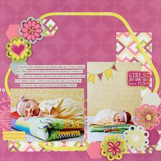 The Quilt Be Young Girl Scrapbook Layout Page Idea from Creative Memories