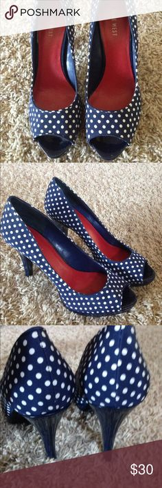 Nine West polka dot peep toes Super cute navy polka dot platform peep toes. Worn a few times. Size 8.5. In. Great used condition Nine West Shoes Heels