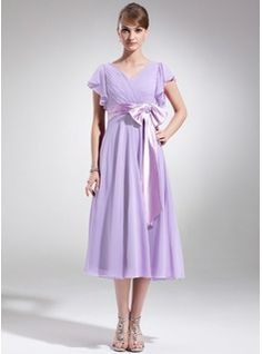 Mother of the Bride Dresses - $124.99 - A-Line/Princess V-neck Tea-Length Chiffon Charmeuse Mother of the Bride Dress With Ruffle Beading Appliques  http://www.dressfirst.com/A-Line-Princess-V-Neck-Tea-Length-Chiffon-Charmeuse-Mother-Of-The-Bride-Dress-With-Ruffle-Beading-Appliques-008006070-g6070