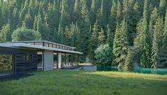modern house on the river Cgi, Behance, River, Gallery, Modern, Plants, House, Trendy Tree, Roof Rack