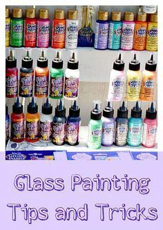 Gloss Enamels… It's just paint! Here are some great tips and tricks! … Gloss Enamels… It's just paint! Here are some great tips and tricks! Wine Glass Crafts, Wine Bottle Crafts, Jar Crafts, Bottle Painting, Bottle Art, Painting On Wine Bottles, Painting On Wine Glasses, Faux Stained Glass, Painted Wine Glasses
