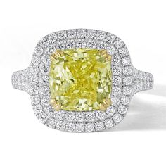 Platinum Cushion Cut Yellow Diamond with Cutdown Double Halo Engagement Ring