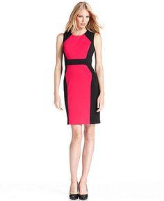 Calvin Klein Dress, Sleeveless Colorblocked Sheath - Womens Dresses - Macy's