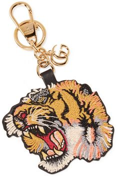 Gucci - Embroidered Leather Keychain - Yellow - one size