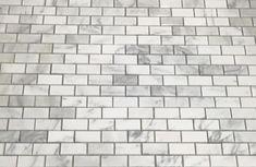 "Polished Italian Carrara White marble mosaic tile in 2x4"" mini brick subway tiles pattern beveled to enhance visual depth. Interlocking sheets on a fiber mesh backing for easy installation. 1 Tile = 1 Sq Ft Chip Size: 2 x 4 in. beveled mini brick subway tile Uses: Carrara marble subway tile | Carrara brick tile | Carrara tile backsplash | Carrara subway tile backsplash | Carrara kitchen backsplash | Carrara subway tile bathroom floor White Beveled Subway Tile, Marble Subway Tiles, Subway Tile Backsplash, Marble Mosaic, Carrara Marble, Kitchen Backsplash, White Marble, Mosaic Tiles, Subway Tile Patterns"