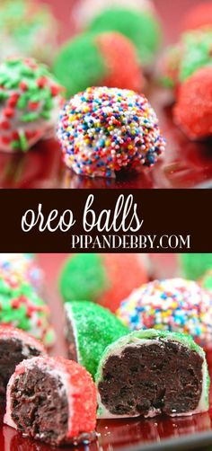 Oreo Balls - only four ingredients to make these beauties! Super festive, pretty and YUMMY! (Use GF oreo type cookies) Christmas Snacks, Christmas Cooking, Holiday Treats, Holiday Recipes, Christmas Recipes, Christmas Holiday, Holiday Appetizers, Holiday Baking, Christmas Desserts