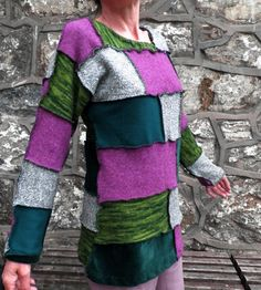 Long Green & Purple Patchwork Jumper Size M by Repsychological