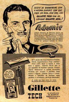 Campanha da Gillette em meados dos anos 50 protagonizada pelo jogador Ademir de Menezes