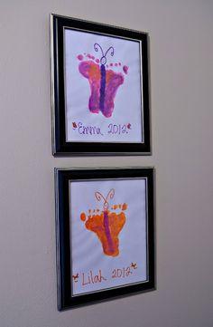 Very cute art project! Footprint Butterfly Art. kids