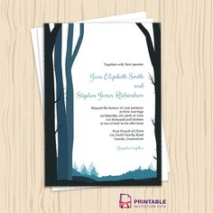 Rustic Woods for Country or Winter Weddings. For customizations, email printableinvitationkits [a] gmail [dot] com