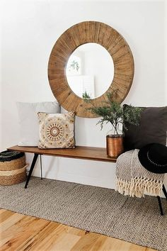 oversize round wood mirror with a midcentury modern style bench and cozy pillows and throws to add warmth(Mix Wood Living Room) Decor Interior Design, Interior Decorating, Decorating Ideas, Eclectic Design, Interior Designing, Room Interior, Interior Ideas, Round Wood Mirror, Circular Mirror