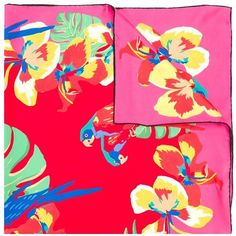 Valentino Parrots Printed Foulard ($255) ❤ liked on Polyvore featuring accessories, scarves, red, silk shawl, red silk scarves, patterned scarves, colorful shawl and colorful scarves