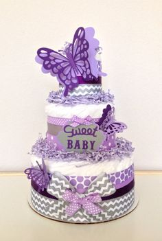 Levender Butterfly Diapers Cake For Baby Shower Centerpieces